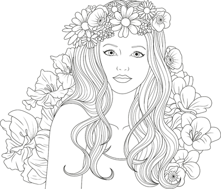 Beautiful girl coloring vector illustration on white background.