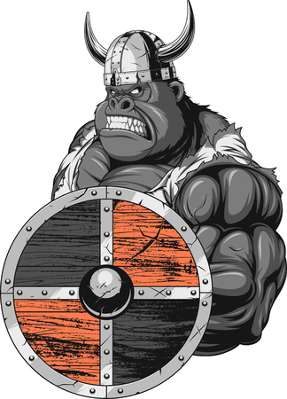 Fierce and strong muscular gorilla wearing viking clothes, on white background vector illustration.