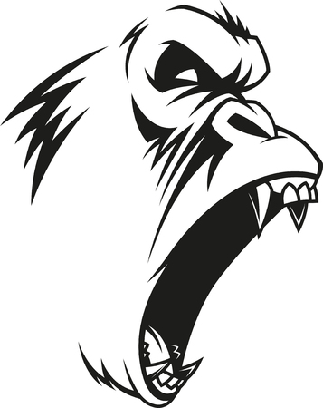 Vector illustration, label of a fierce gorilla, outline, on a white background