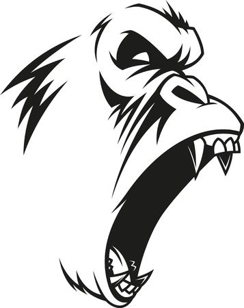 Illustrazione vettoriale, etichetta di un gorilla feroce, contorno, su sfondo bianco