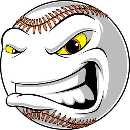 Illustration of a baseball ball cartoon with angry face on a white background Ilustração