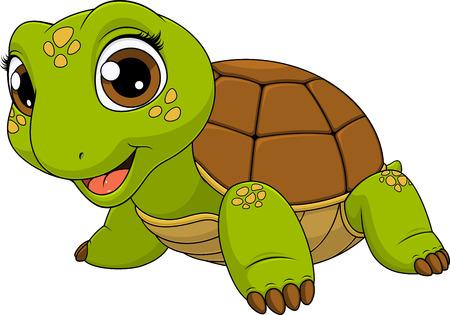 Ilustracja wektorowa słodkie dziecko żółwia uśmiechnięte, na białym tle, kolorowanki