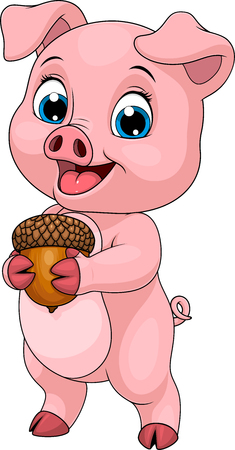 Illustration of Young funny little piggy, holds acorn in paws, coloring, on white background.