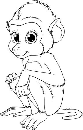 Vektor illustration, funny cute monkey baboon, sits smiling, on white background