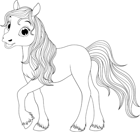 Vector illustration, funny baby foal, on a white background, fun playing, coloring pages