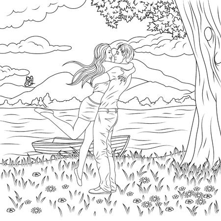 Vector illustration, pop art man and girl embrace, declaration of love, coloring