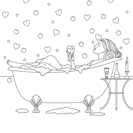 Vector illustration, beautiful girl bathes in the bathroom, drinks wine, coloring