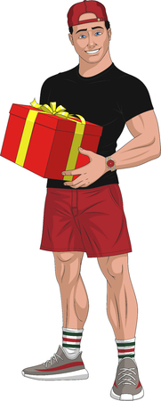 Vector illustration, young courier with box, gift, on white background Ilustração