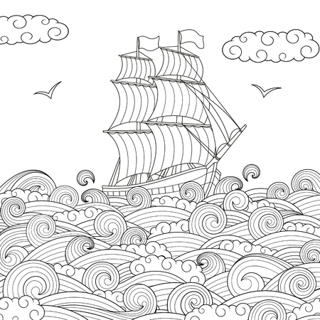 Vector illustration, childrens sailing ship on the waves, childrens coloring page