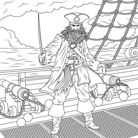 Vector illustration, the evil captain of pirates on the ship, boarding, children's coloring Illustration