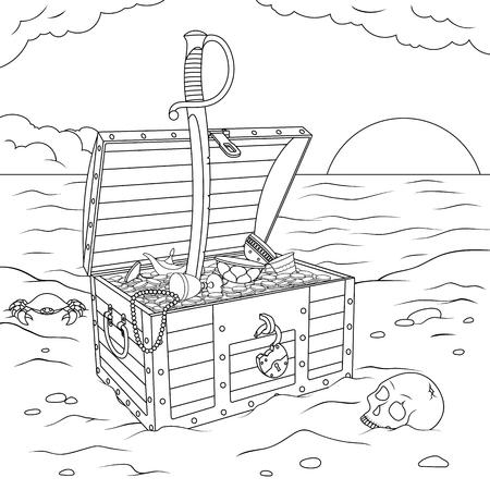 Vector illustration, treasure chest standing on the sea shore open, coloring