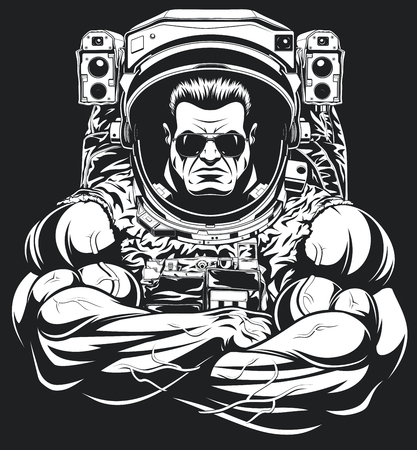 Vector illustration, a bodybuilder in an astronaut suit, shows a large bicex, wearing sunglasses.