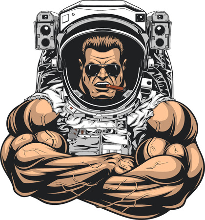 Vector illustration, a bodybuilder in an astronaut suit, shows a large bicex, wearing sunglasses, smokes a cigar.