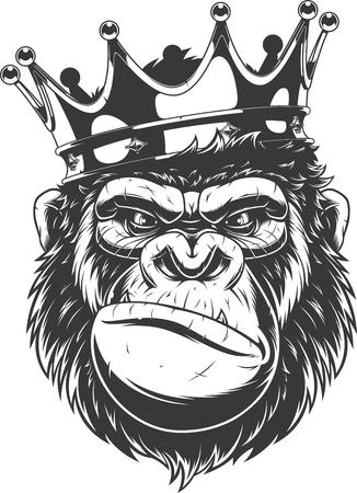 Ilustración de vector, cabeza de gorila feroz con corona, sobre fondo blanco