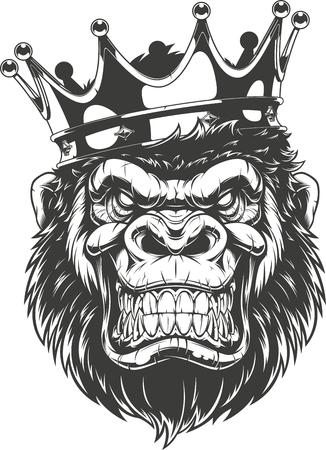 Illustration vectorielle, tête de gorille féroce avec couronne, sur fond blanc Vecteurs