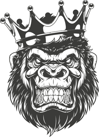 Illustrazione vettoriale, testa di gorilla feroce con corona, su sfondo bianco Vettoriali