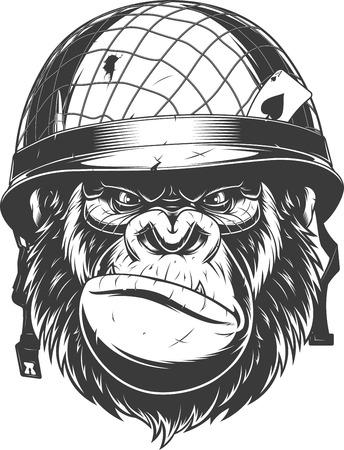 Ilustración de vector, gorila feroz con casco militar, soldado de fortuna, sobre fondo blanco Ilustración de vector