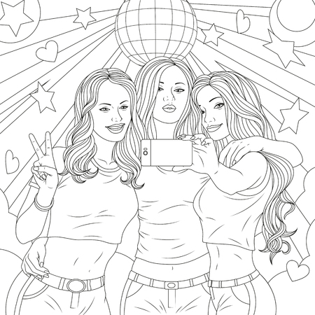 Vector illustration three beautiful girls are photographed on the phone in a nightclub, coloring pages Ilustração