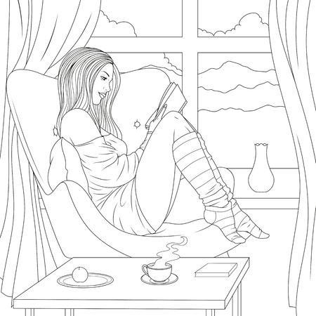 Vector illustration of a beautiful girl reading a book sitting in a chair, morning coffe, admiring the nature from the window.