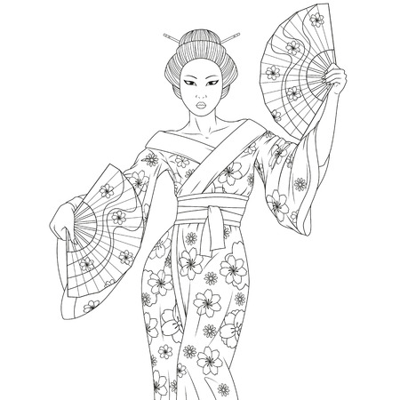Vector illustration of a beautiful geisha performing a dance with fans, coloring