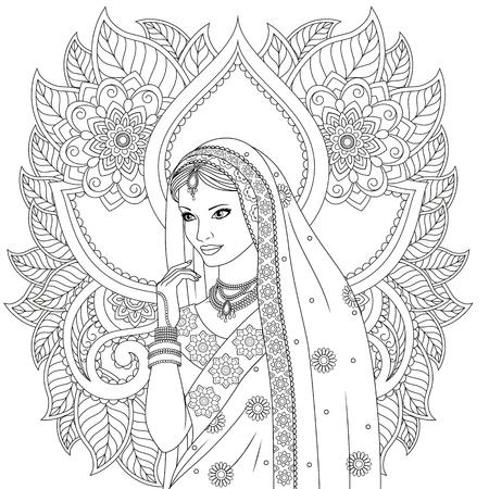 Illustration vectorielle, belle fille indienne danse, sur fond blanc motifs indiens, coloration