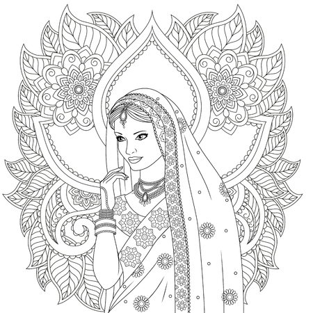 Vector illustration, Indian beautiful girl dancing, on white background indian patterns, coloring