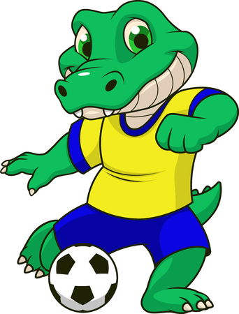 Vector illustration of a funny crocodile football player playing in a soccer ball, on a white background