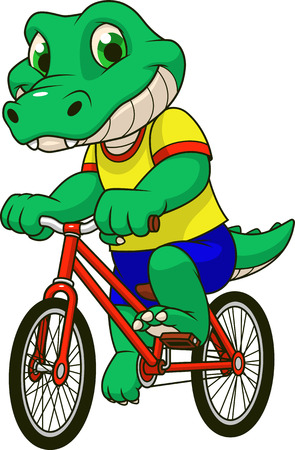 Vector illustration of a funny baby crocodile riding a bicycle, on a white background