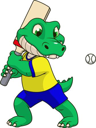 Ilustración vectorial, divertido bebé cocodrilo jugando al cricket, sobre un fondo blanco.