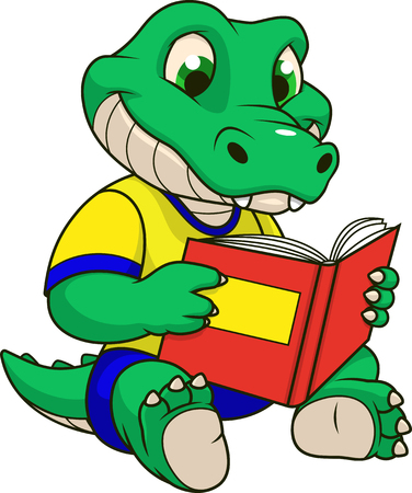 Vector illustration, funny  baby crocodile reads a book, on a white background