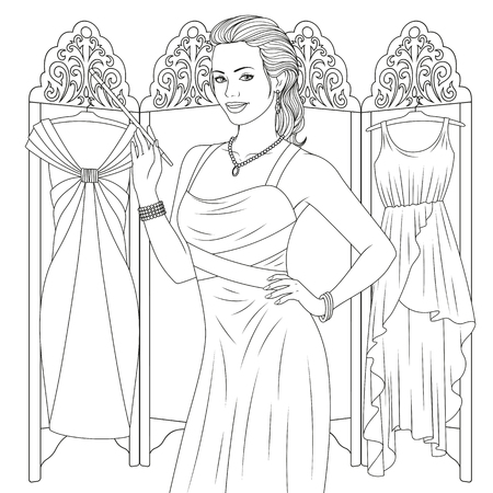 Vector illustration, beautiful girl сoloring pages, on white background.