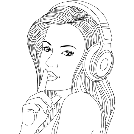 Vector illustration, beautiful girl listening to music on headphones , сoloring pages, on white background. Ilustração