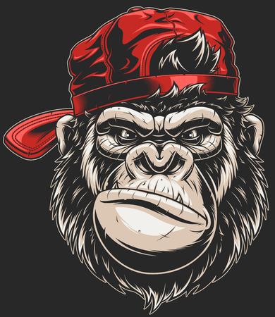 Illustrazione vettoriale, grave gorilla in un berretto da baseball, testa isolata, su uno sfondo bianco