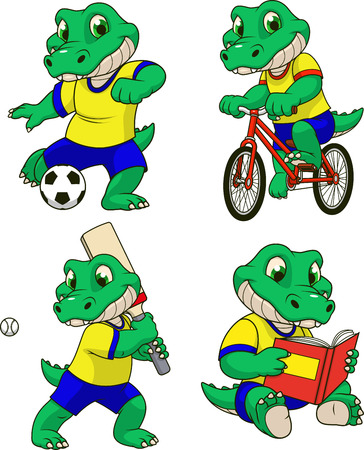 Vector illustration, a set of crocodile child engaged in sports, playing a game, riding a bike, reading a book. Ilustração