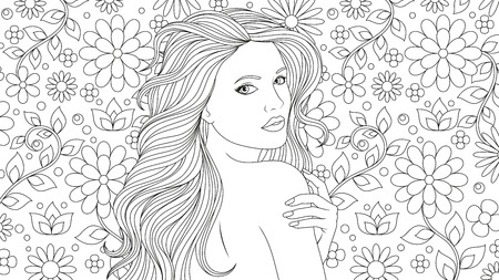 Vector illustration, beautiful girl coloring, on a background with flowers.