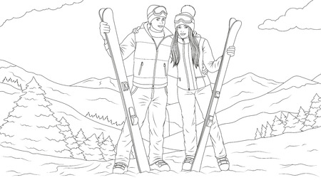 Vector illustration young man and beautiful girl skiing, against the backdrop of the beautiful mountains. Ilustração