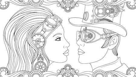 Vector illustration, man and woman in suits steampunk, black and white coloring.  Ilustração