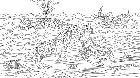 Vector illustration, sea lions sitting on stones, on a white whale background in the ocean, coloring.  Ilustração
