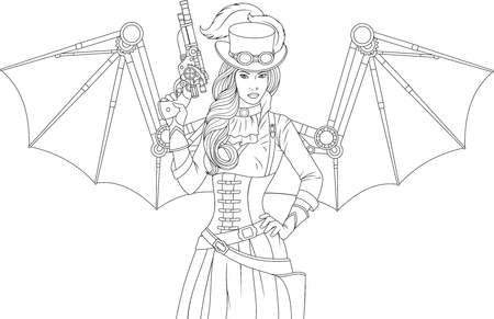 Ilustración vectorial de una hermosa niña con alas mecánicas steampunk sosteniendo una pistola, sobre fondo blanco.