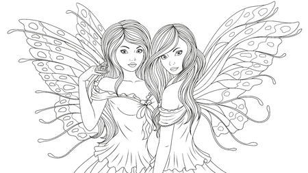 Vector illustration of two beautiful fairy, on a white background