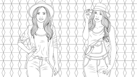 Vector illustration, Two stylish beautiful girls, coloring, on a vector background
