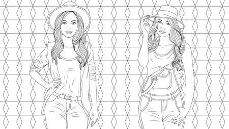 Ilustración de vector, dos hermosas chicas elegantes, coloración, sobre un fondo de vector