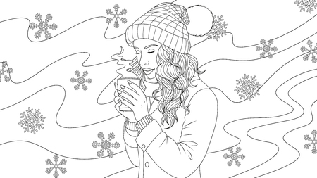 Vector illustration of a beautiful girl drinking coffee outdoors in winter, on a blizzard background,  coloring pages