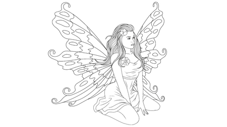 vector illustration, beautiful young fairy coloring, sitting, isolated on white background Ilustração