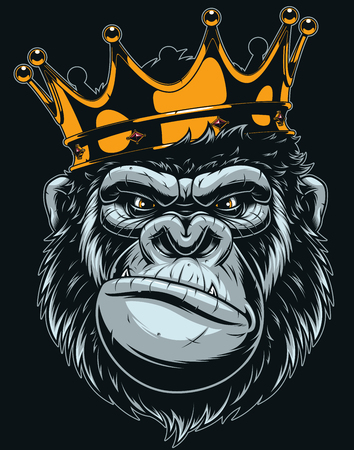 Vector illustration, ferocious gorilla head on with crown, on black background