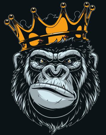 Illustrazione vettoriale, testa di gorilla feroce con corona, su sfondo nero Vettoriali