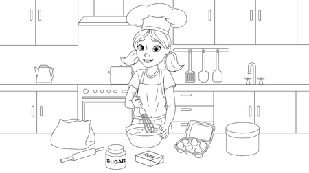 Vector illustration coloring book, cute girl cooks a cake in the kitchen, kneads the dough.