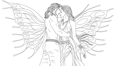 Vector illustration of coloring book, man and woman fairies kiss, love each other.