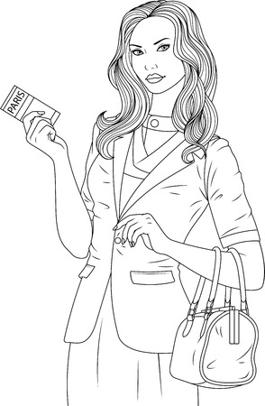 illustration coloring book, Lovely girl holding ticket, flight to Paris.