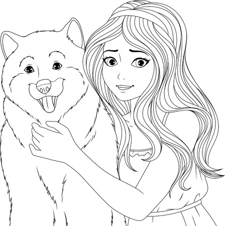 Vector illustration coloring book, cute young girl hugging a dog, friendly hug.
